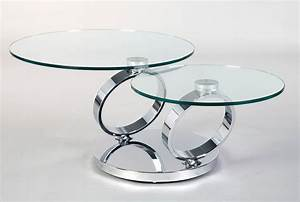 2 levels swivel round glass coffee table With 2 level glass coffee table