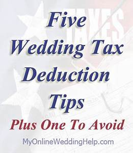 5 wedding tax deduction tips plus one to avoid With wedding dress donation tax deduction