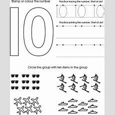 Number Ten Worksheet  Free Preschool Printable