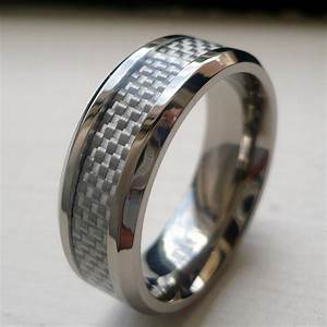 8mm men39s titanium white carbon fiber wedding band ring With mens wedding ring carbon fiber