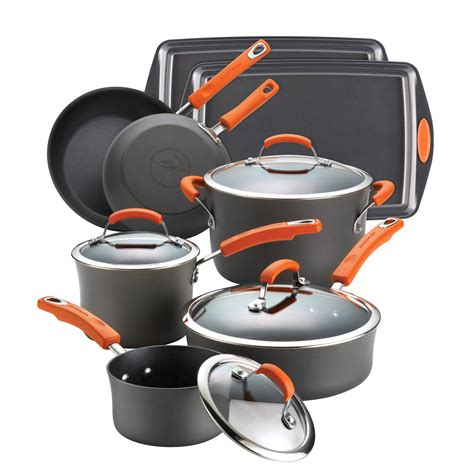 cookware rachael ray anodized hard piece nonstick orange open ii non stick sets wayfair collection money pc skillets pans pots