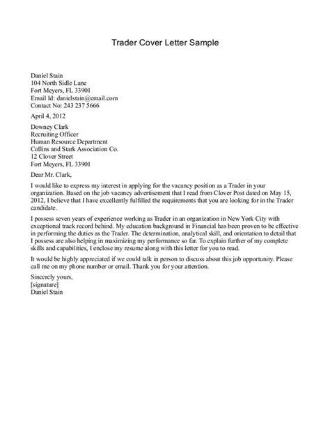 cover letter for position cover letter sle for trader best cover letter sle cover letters application letter for any