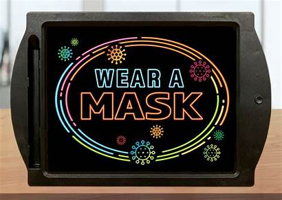 Mask Wear Signs Boards Stand Led Distance