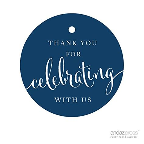 Andaz Press Circle Gift Tags, Thank You For Celebrating With Us, Navy Blue, 24pack, Round