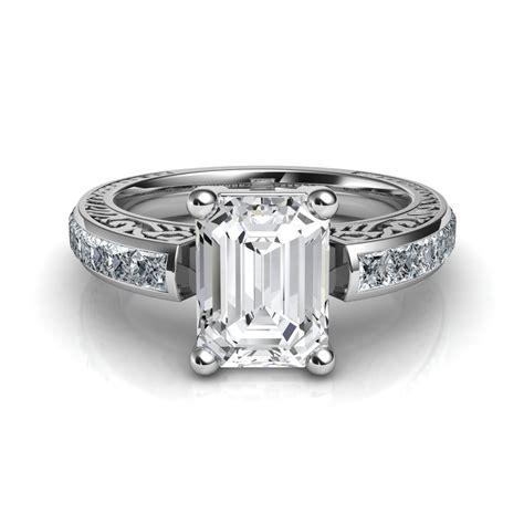Hand Engraved Vintage Style Emerald Cut Diamond Engagement