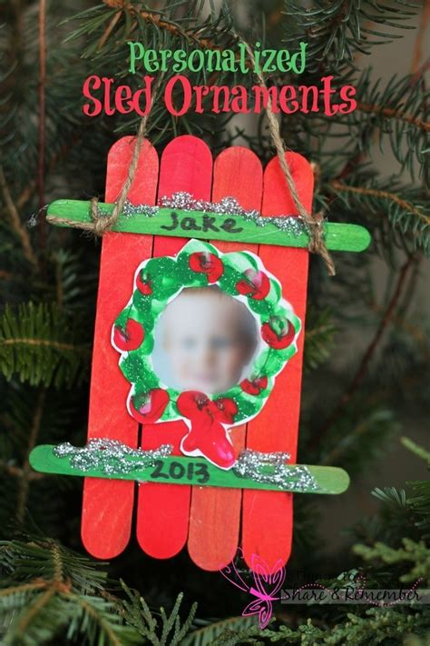 sled craft ornament parent gifts craft sticks and parents