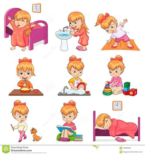 girl  daily routine illustrations set stock