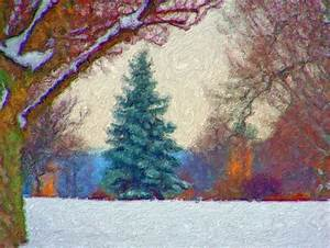 Evergreen In Snow Painting Free Stock Photo