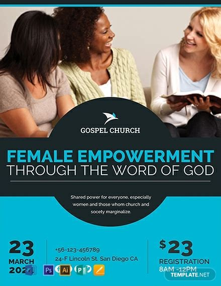 women church flyer template word psd apple