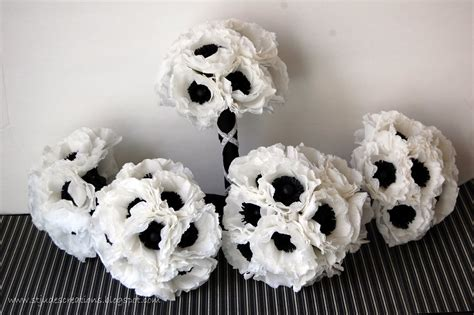 Black And White Wedding Anemone Wedding Order Handmade