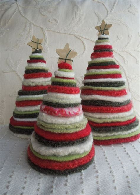 trees  recycled felted wool sweaters red white