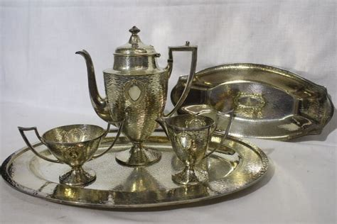 5pc Deco Sheffield Silver Plate Hammered Coffee Set Pot