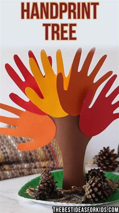 handprint tree video fall crafts  kids