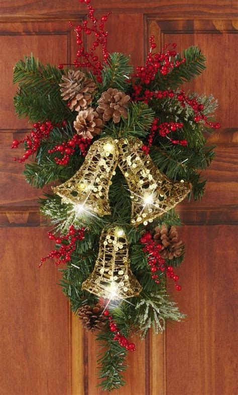 holiday bells evergreen swag door decor christmas