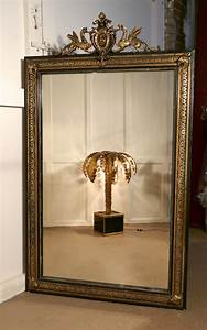 Large, French, Ebonised, Brass, And, Gilt, Wall, Mirror, Dragons, And, Crest