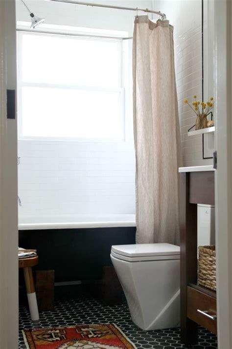 house tweaking bathroom reveal modern black and white wood vanity open shelving hex