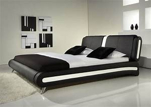 cheap new modern black white detail faux leather designer With cheapest place to buy king size mattress