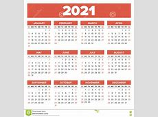 Simple 2021 year calendar stock vector Illustration of