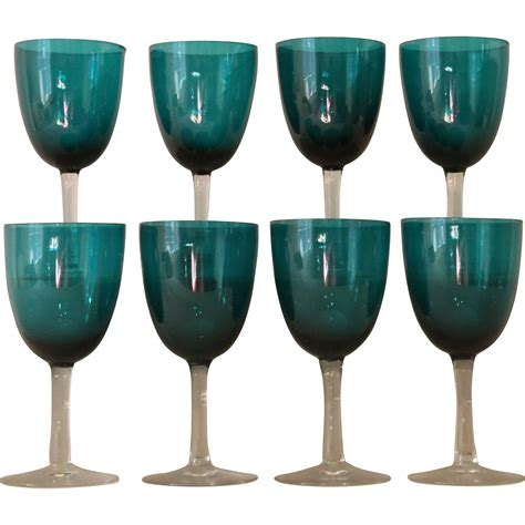 blue wine glasses 8 antique victorian green blue wine glasses from englandscountrytreasures on ruby lane