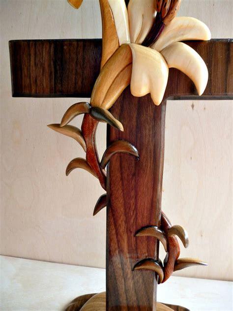 intarsia stand  lily cross  tripleb  lumberjocks