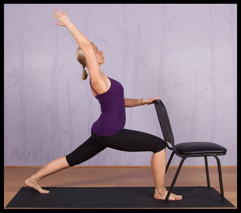 a modified version of the cresent lunge pose using a