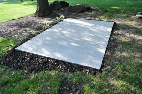 concrete slab for shed base how to pour a concrete shed foundation one project closer