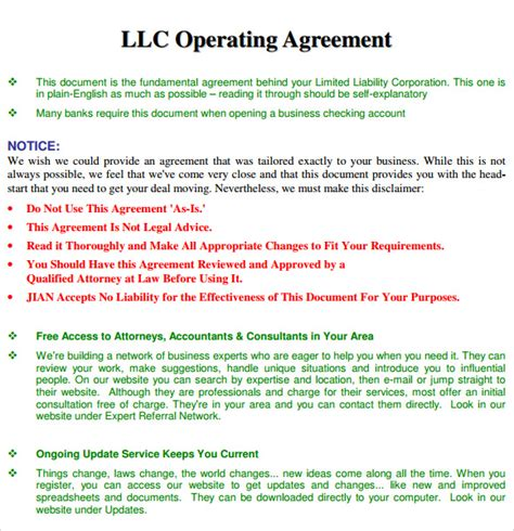 operating agreement template   samples examples