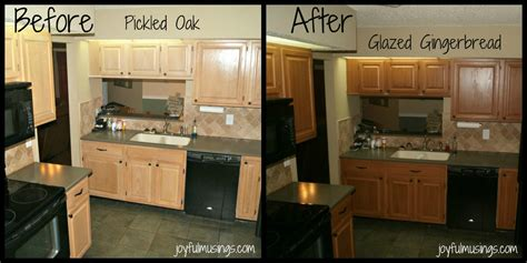 Pickled Oak Cabinets Before And After by Rust Oleum Cabinet Transformations Pickled Oak To Gingerbread