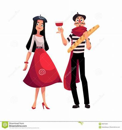 French Woman Characters Dressed Mime Cartoon Parisian