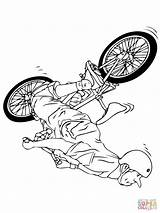 Bmx Coloring Pages Drawing Bike Printable Street Cyclist Cycling Super Games sketch template