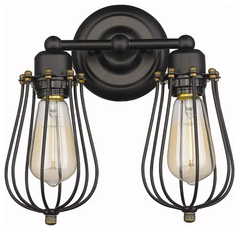 vintage style 2 light wire cage wall sconce rubbled