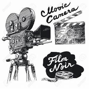 Movie Camera-original Hand Drawn Collection Royalty Free ...