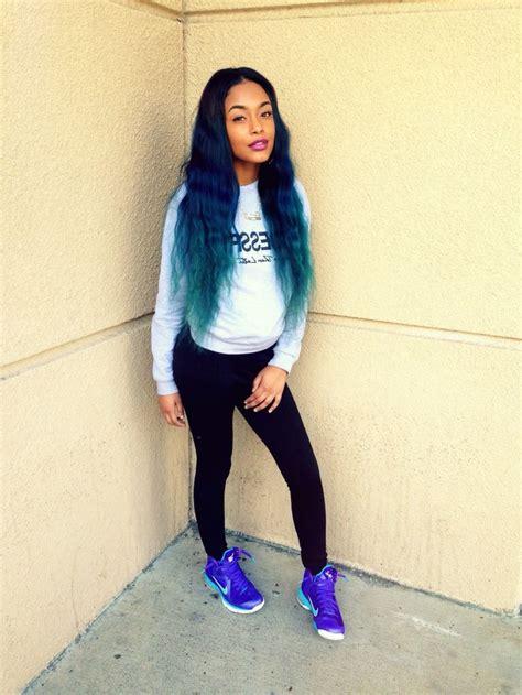 Best 25 Blue Hair Black Girl Ideas On Pinterest Blue