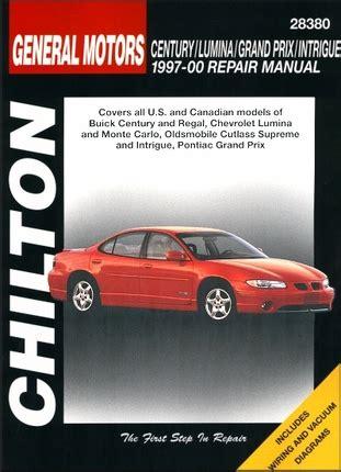 car repair manual download 2001 oldsmobile intrigue spare parts catalogs century lumina grand prix intrigue repair manual 1997 2000