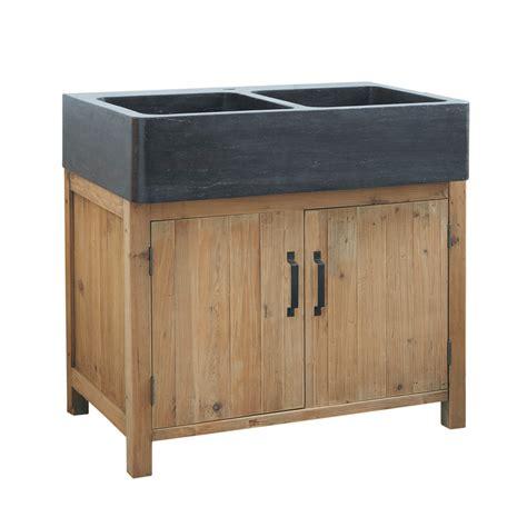 meuble avec evier cuisine meuble bas de cuisine avec évier en bois recyclé l 90 cm
