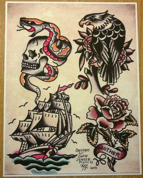 Owen Jensen Classic Tattoo Flash Print Tattoo Flash Recreated