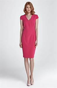 fuchsia pink short sleeves sheath dress nis85ro With robe droite rose