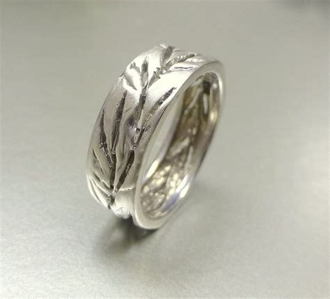 crafted s and s wedding band cutout leaf