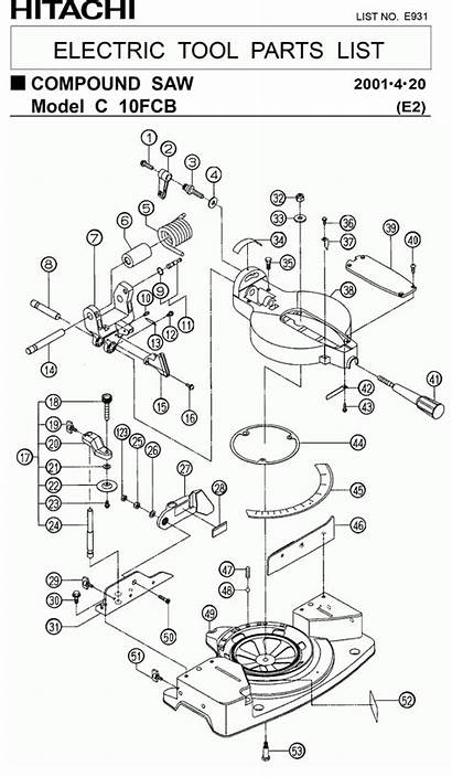 Hitachi Parts Miter Saw Diagram Compound Replacement