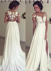 2017 summer chiffon wedding dresses lace top short sleeves With lace top wedding dress