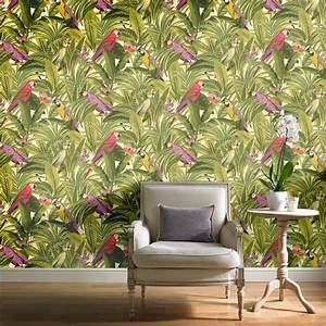 Grandeco Botanical Trees Leaves Pattern Wallpaper Birds ...