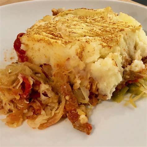 zuurkool ovenschotel met shoarma eenvoudig eten recept zuurkool shoarma voedsel ideeen