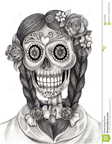 art skull day   dead festival stock illustration