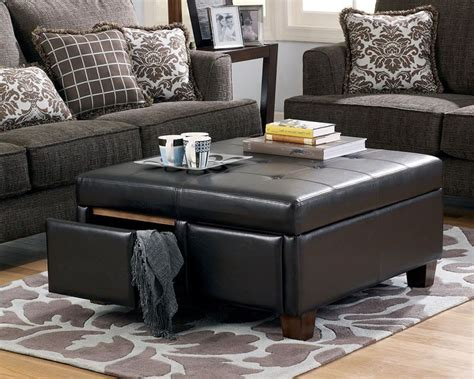 Ottoman, coffee table or both! large leather ottoman. love the rug underneath | Storage ottoman coffee table, Leather coffee ...