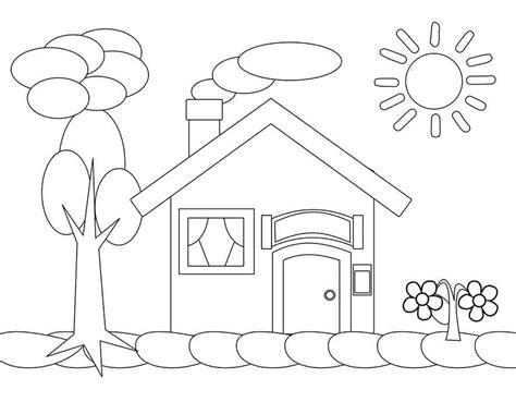mewarnai gambar rumah untuk anak