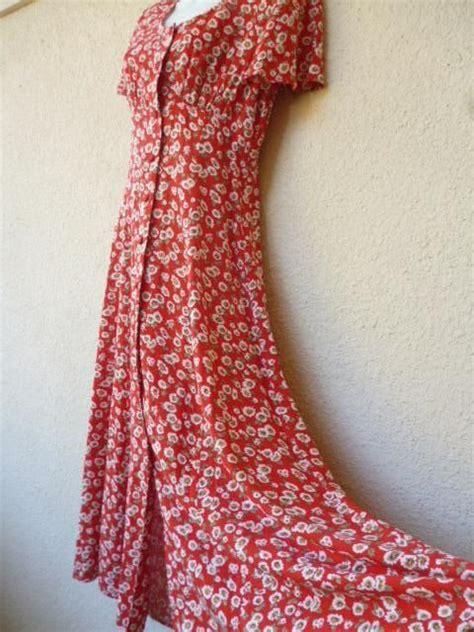 vintage  maxi dress red floral print dress grunge