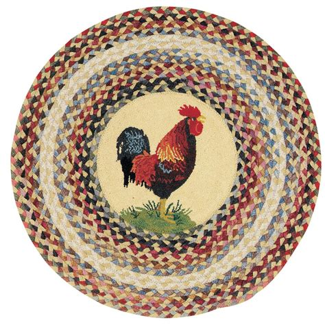 rooster rugs capel somewhere in time 5 6 quot round ella s rooster rug 152735 rugs at sportsman s guide