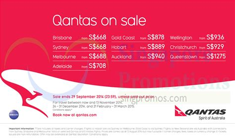 qantas promotion air fares  aug  sep