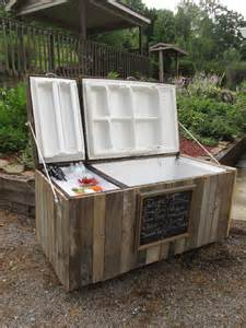 Waterproof My Basement by Awesome Rustic Cooler From Broken Refrigerator And Pallets
