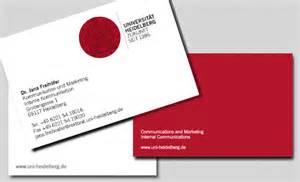 visitenkarten beispiele design visitenkarten service universität heidelberg